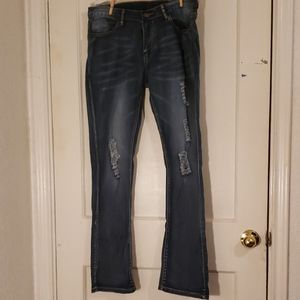 Distressed Stretchy Boot cut jeans